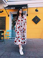Яркое летнее платье длинное свободного кроя универсального размера с поясом цветочный принт