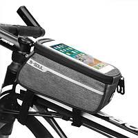 """Велосипедная сумка на раму для смартфона до 7""""дюймов B-SOUL серая"""