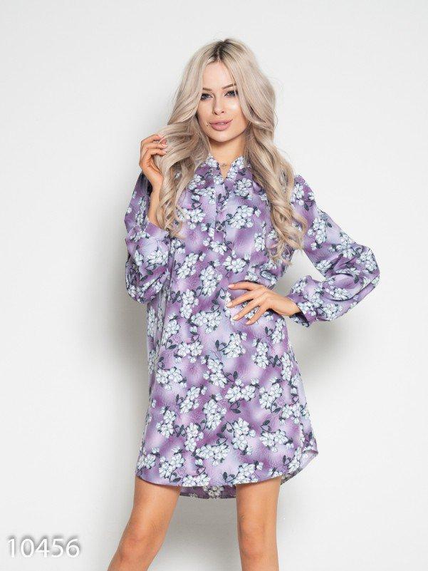 Сиреневое принтованное  платье с длинными рукавами