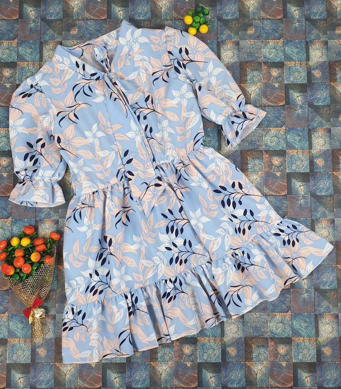 Стильное платье для девочки Цветы р 134-152 оптом