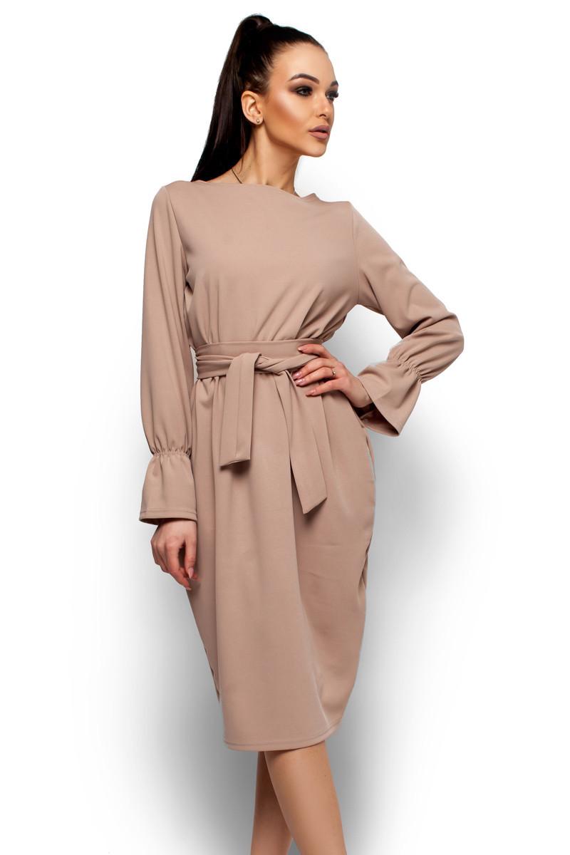 S, M, L, XL / Классическое свободное платье Venera, бежевый