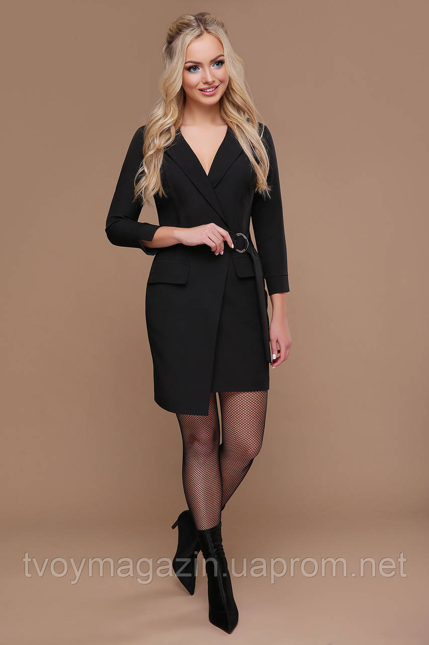 Черное платье-пиджак с запахом  Чорна сукня-піджак с запахом