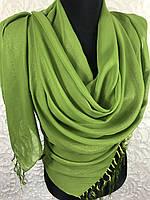 Шифоновый зеленый шарф с золотым напылением
