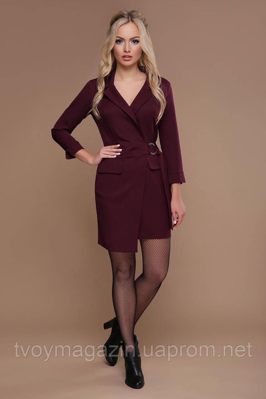 Бордовое платье-пиджак с запахом  Бордова сукня-піджак с запахом
