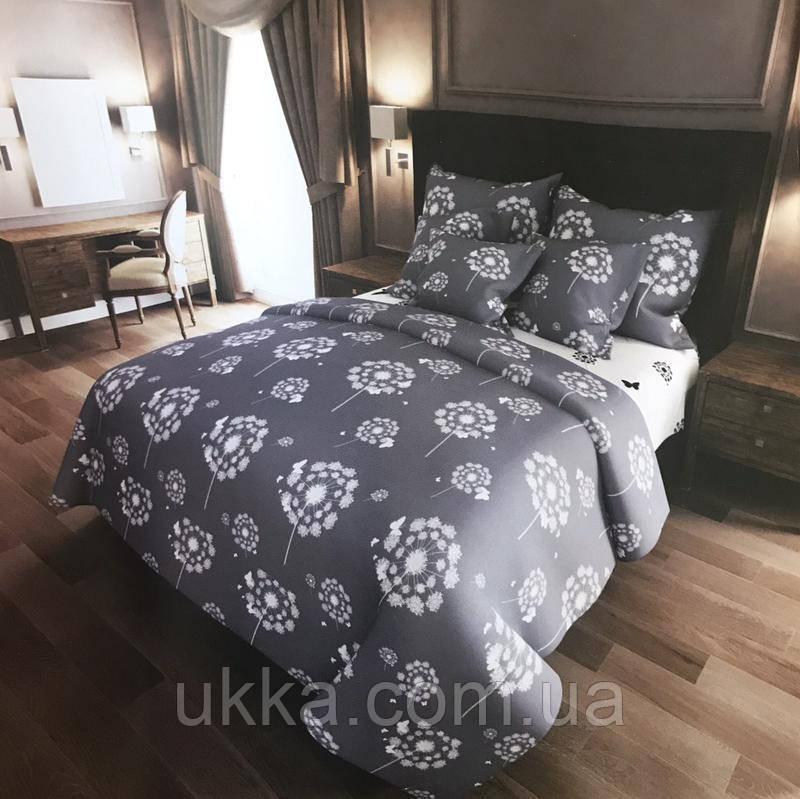 Евро постельное бязь 100% хлопок Одуванчики серо-белые