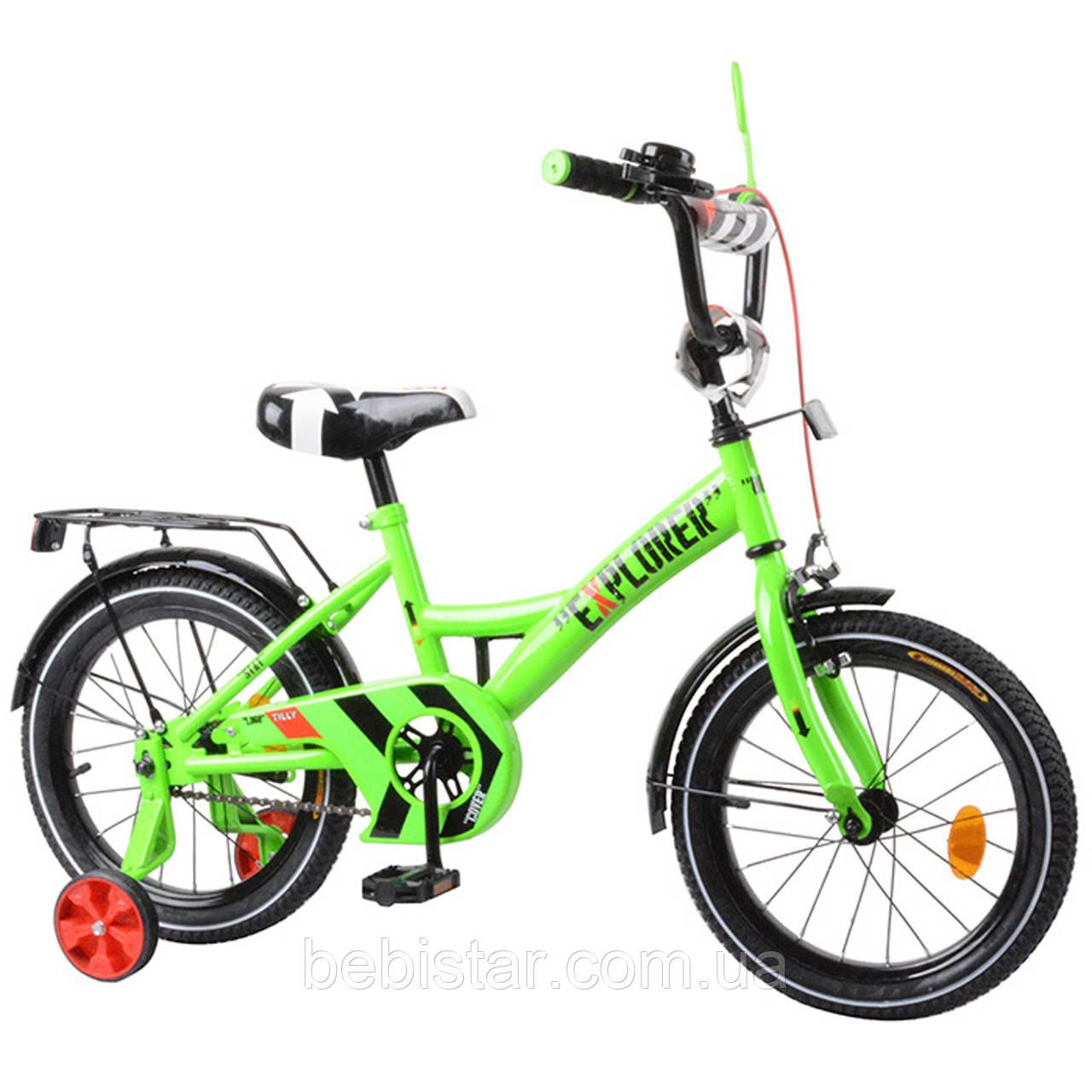 """Детский двухколесный велосипед зеленый TILLY EXPLORER 16"""" звоночек, передний тороз для деток 4-6 лет"""