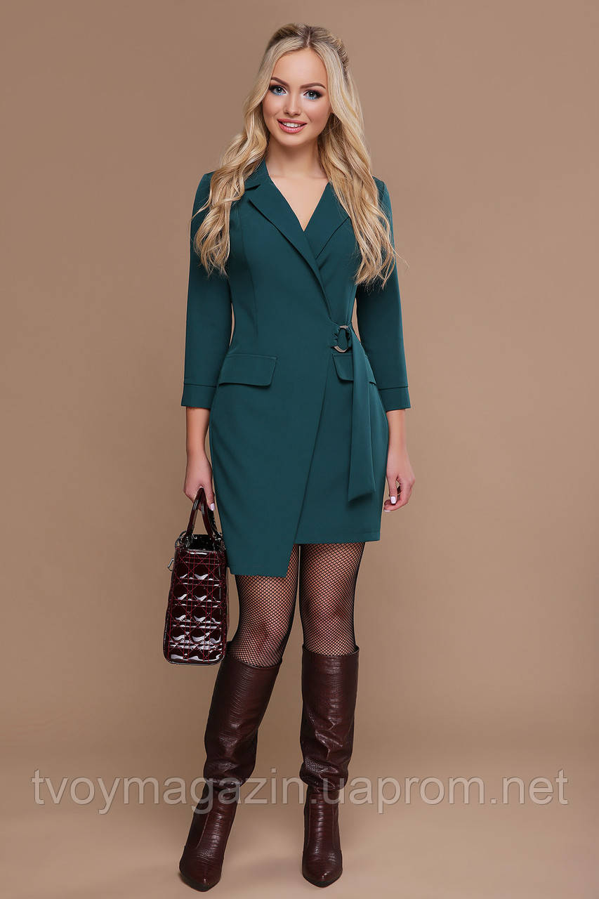 Изумрудное зеленое платье-пиджак с запахом Зелена сукня-піджак с запахом