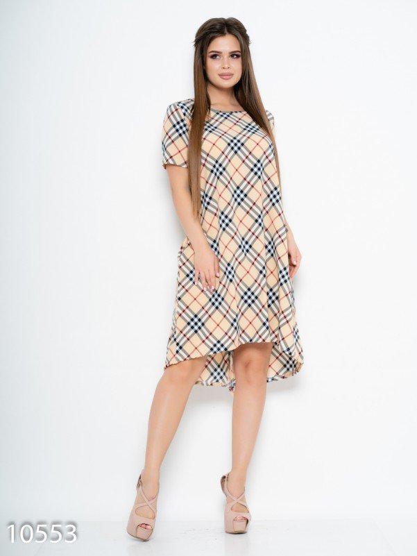 Клетчатое свободное платье со съемным поясом