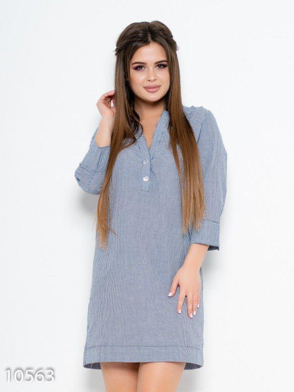 Синее клетчатое прямое платье с карманами