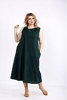 01131-3 | Темно-зеленый легкий сарафан из льна большой размер