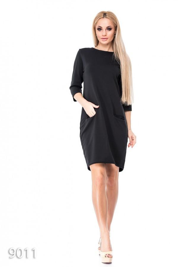 Черное однотонное платье из двунити с карманами впереди M