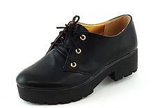 Туфлі жіночі чорні тракторна підошва Т419