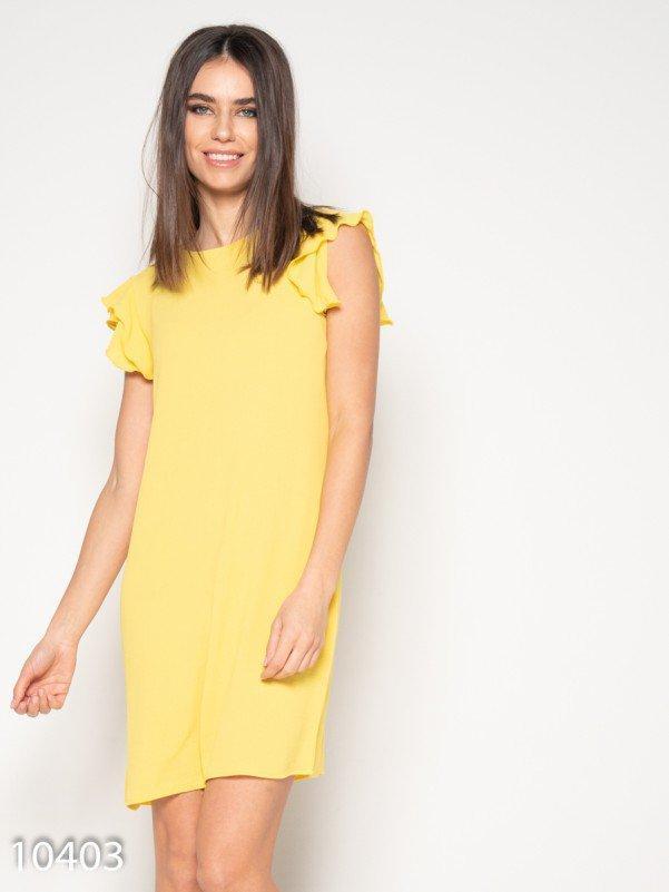 Желтое мини платье с рюшами на рукавах XL