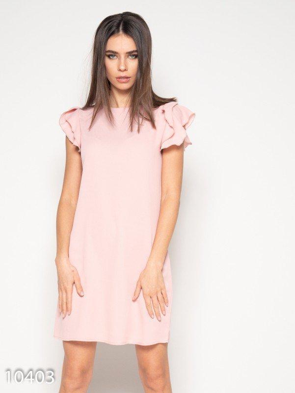 Розовое мини платье с рюшами на рукавах L