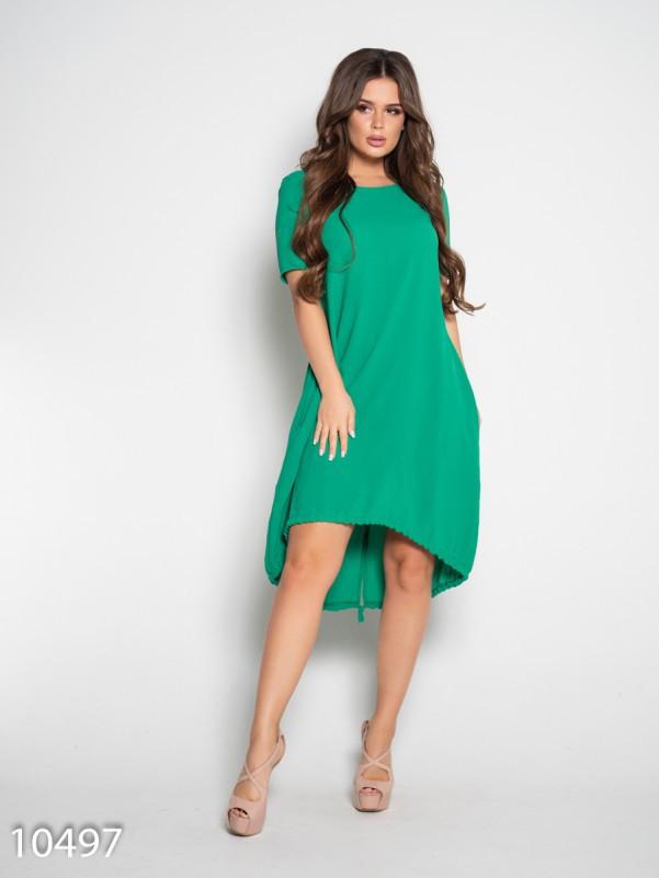 Зеленое свободное платье с короткими рукавами S