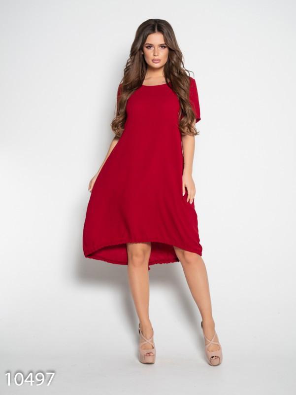 Бордовое свободное платье с короткими рукавами S
