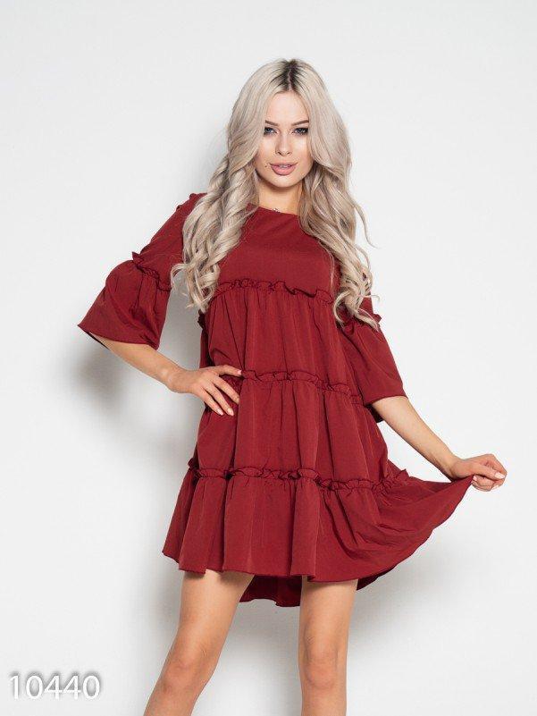 Коричневое платье-трапеция с рюшами и воланами L