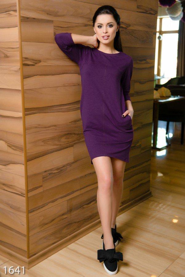 Строгое спортивное бордовое платье из двунити с кармашками XXL
