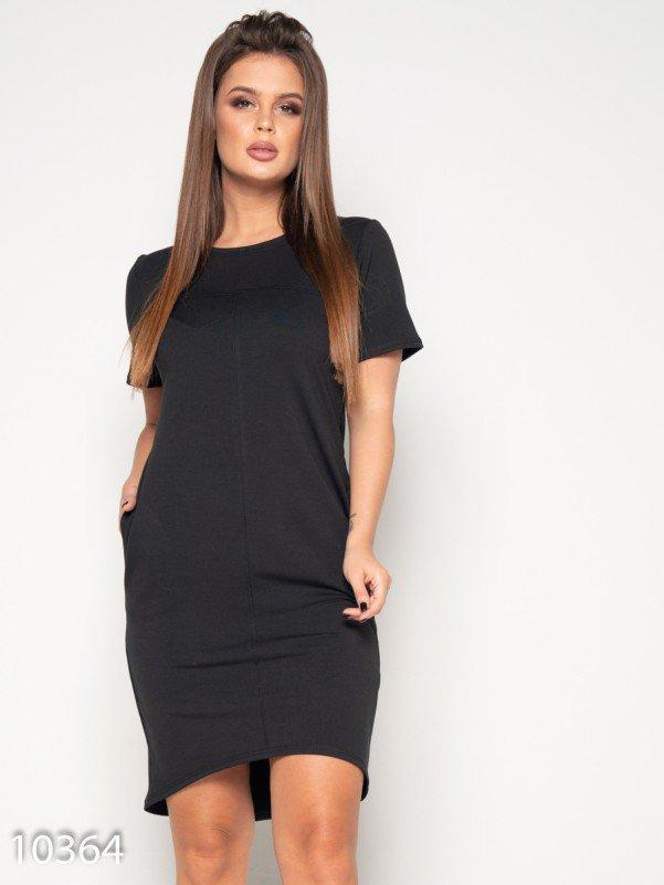 Черное трикотажное платье с потайными карманами L