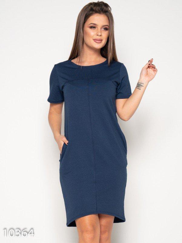 Темно-синее трикотажное платье с потайными карманами S