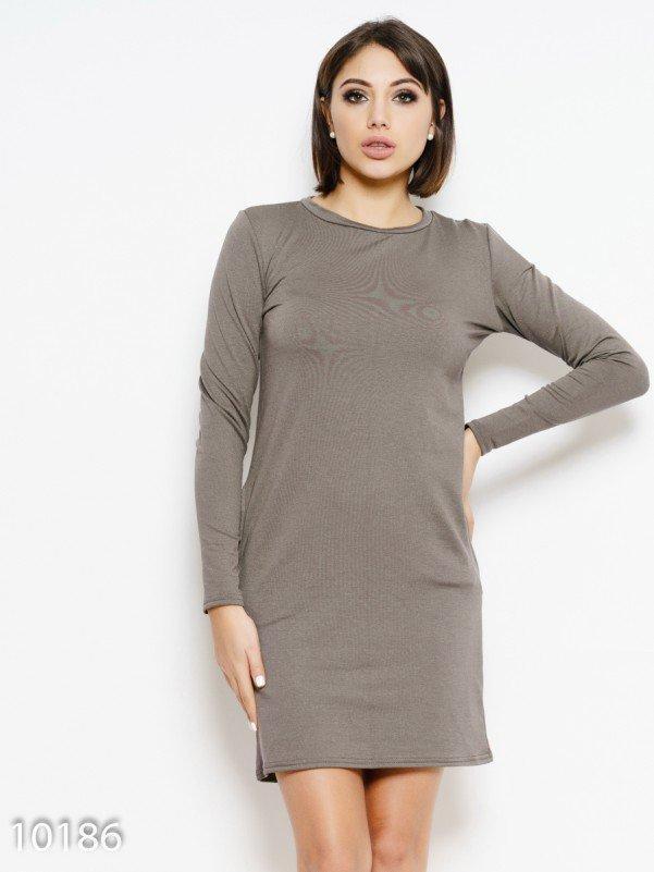 Бежевое однотонное платье с карманами S