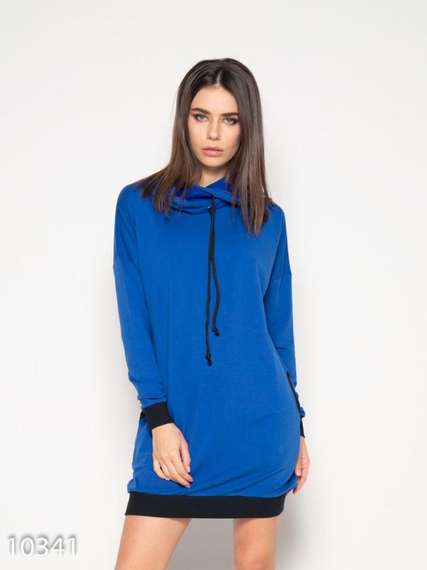 Синее спортивное платье с капюшоном и карманами L