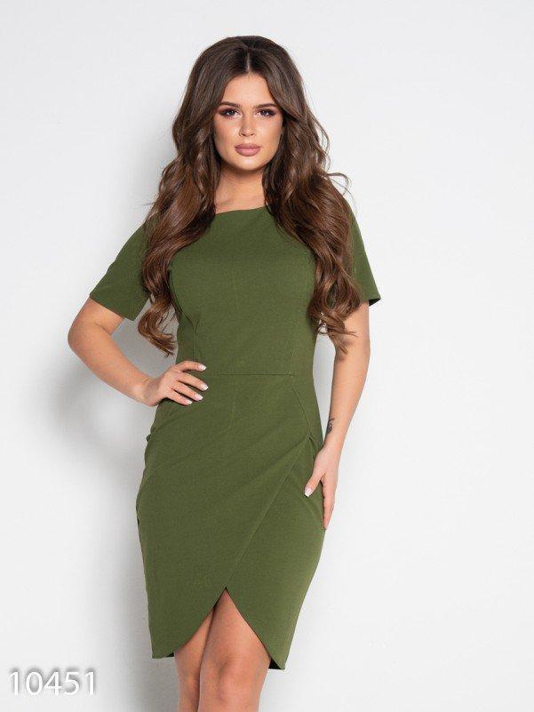 Платье-футляр цвета хаки с юбкой на запах M