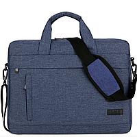 Портфель- сумка для ноутбука 15.6''  и документов через плечо СИНЯЯ, чехол, кейс, текстиль, мужская, женская