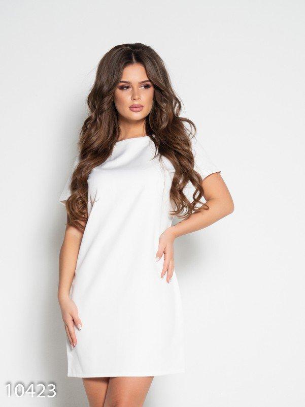Белое платье с короткими рукавами и вырезом на спине L