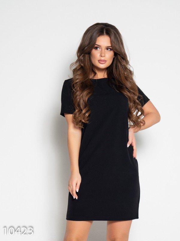 Черное платье с короткими рукавами и вырезом на спине S