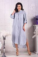 Женское хлопковое длинное платье - рубашка большой размер, фото 1