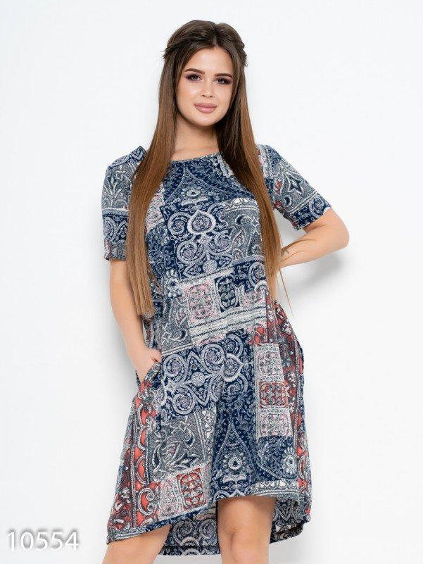 Принтованное свободное платье с вырезом на спине 4XL