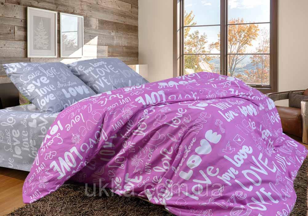 Полуторное постельное бязь 100% хлопок Лав розовый