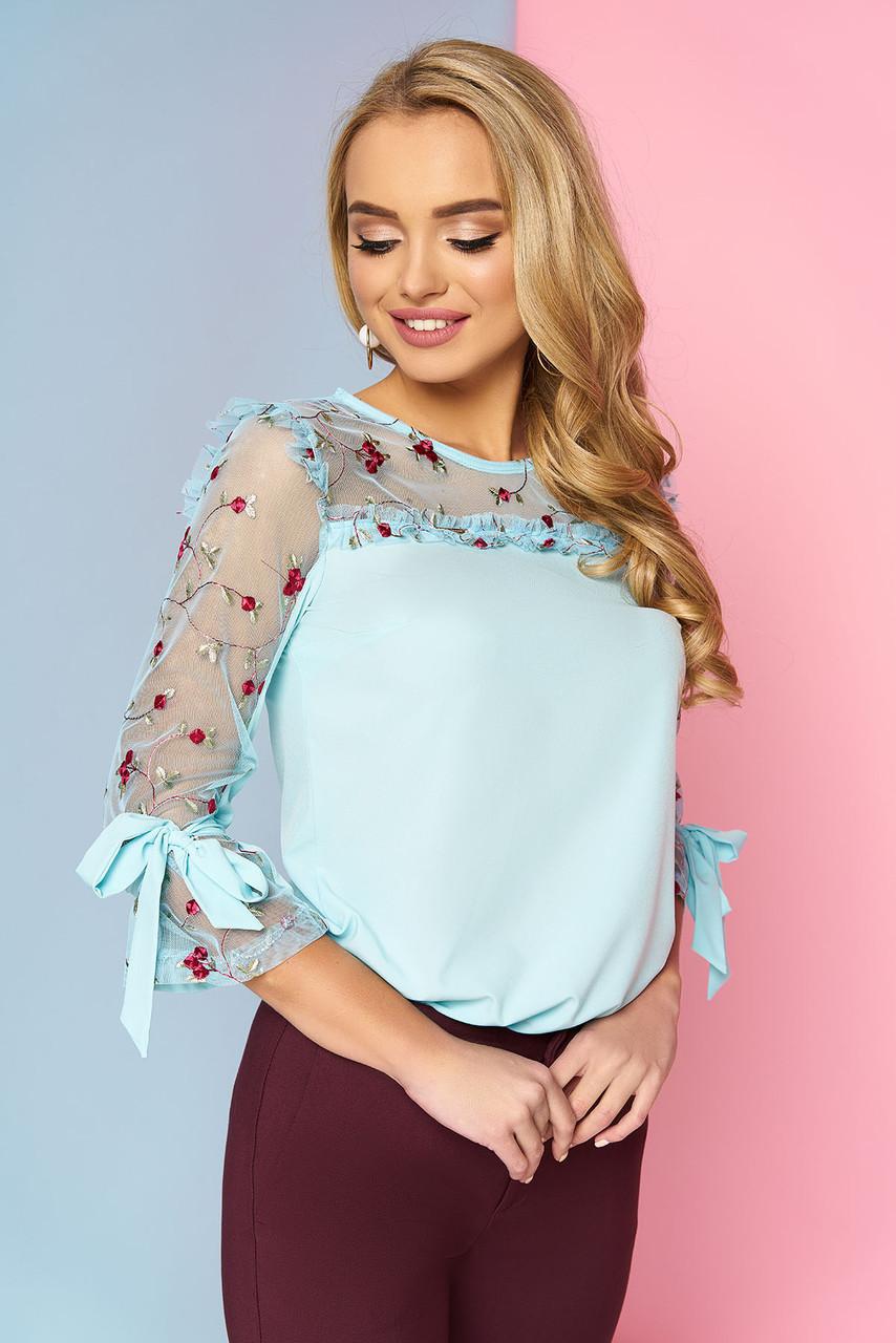 5ac3e552bfaf0e9 Красивая женская нарядная блузка со вставкой из сетки с вышивкой и рюшами