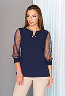 """Модная офисная блузка с рукавами 3/4 в сеточку с горошком """"Немо"""" темно-синяя"""