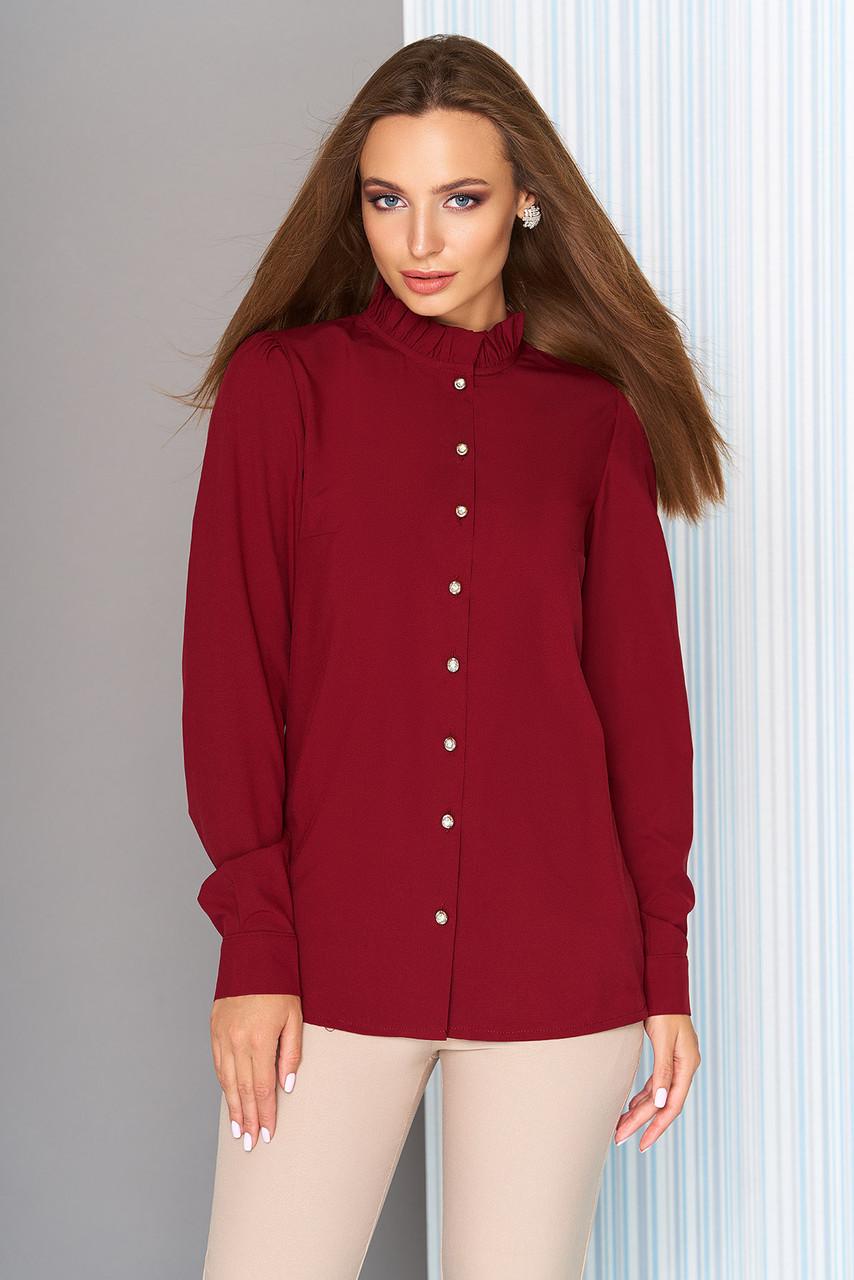 e4ba7f056a054 Женская деловая блузка с длинным рукавом и рюшей по горловине
