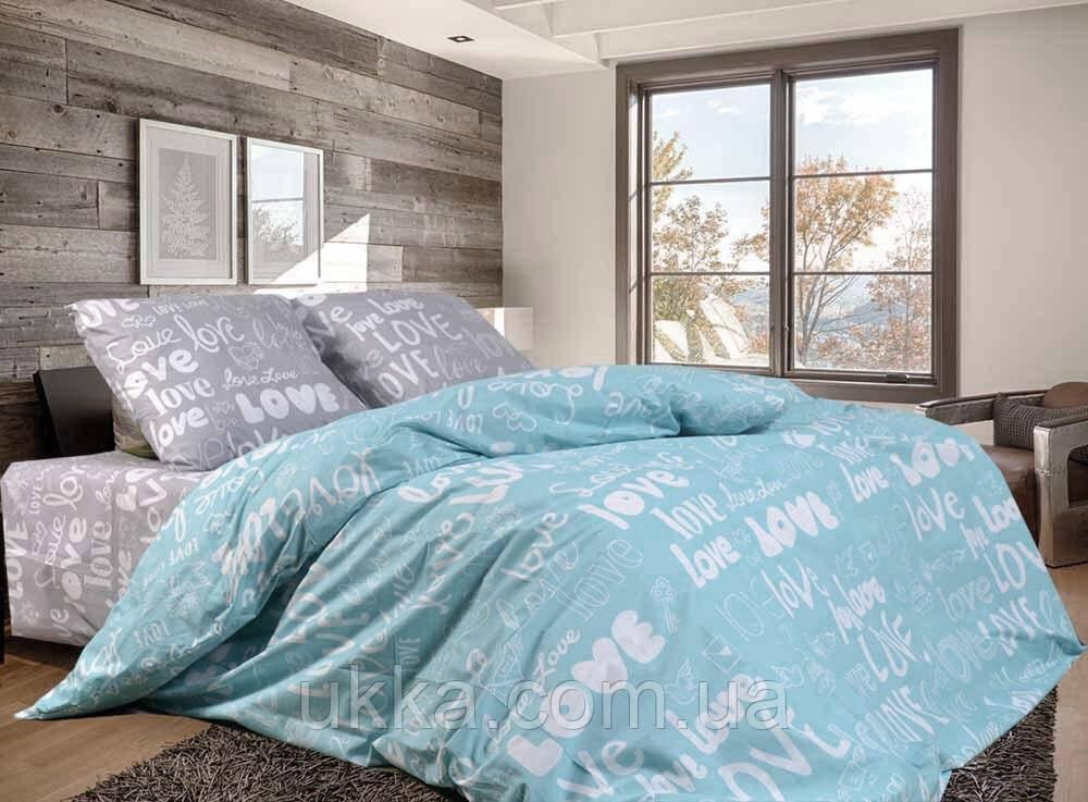Полуторное постельное бязь 100% хлопок Лав бирюза