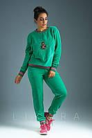 Женский батальный спортивный костюм из велюра