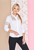 60811328474 Красивая белая офисная блузка-рубашка с оригинальными гипюровыми вставками