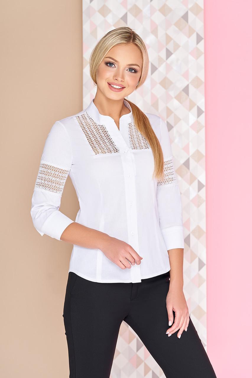 a9c808c6866 Красивая белая офисная блузка-рубашка с оригинальными гипюровыми вставками