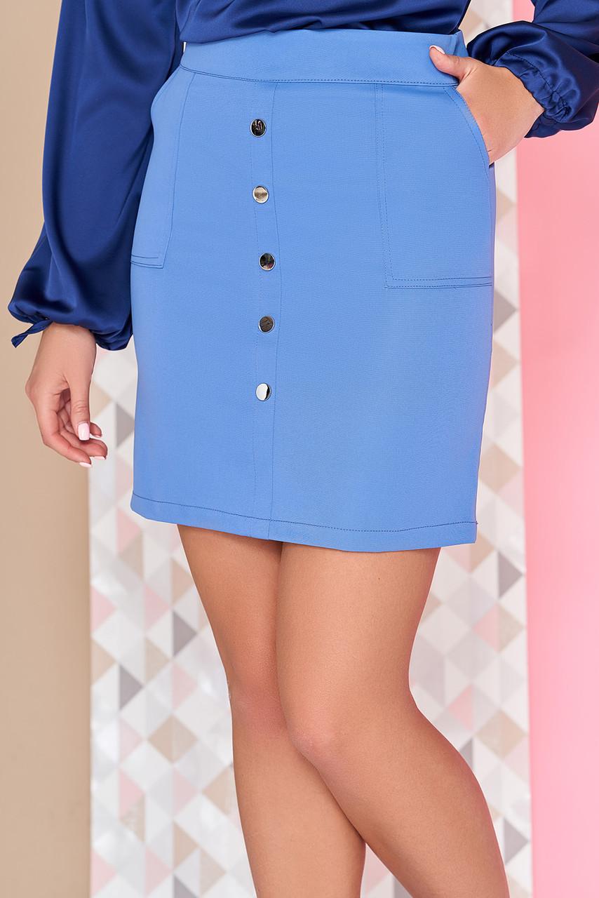 """Модная юбка с накладными карманами и заклепками выше колен """"Наяна"""" цвет джинс"""