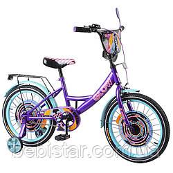 """Детский двухколесный велосипед фиолетовый TILLY Glow 18"""" передний тормоз, звоночек для деток 5-7 лет"""
