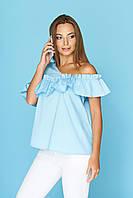 """Легкая блузка на лето с асимметричной рюшей на одно плечо """"Земфира"""" голубая"""