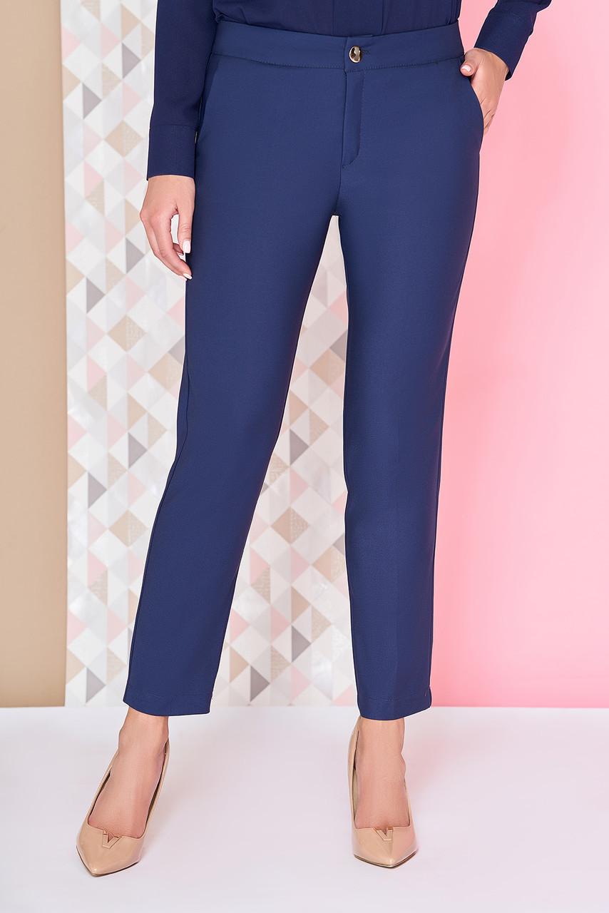 """Классические женские офисные прямые брюки """"Риор"""" темно-синие"""