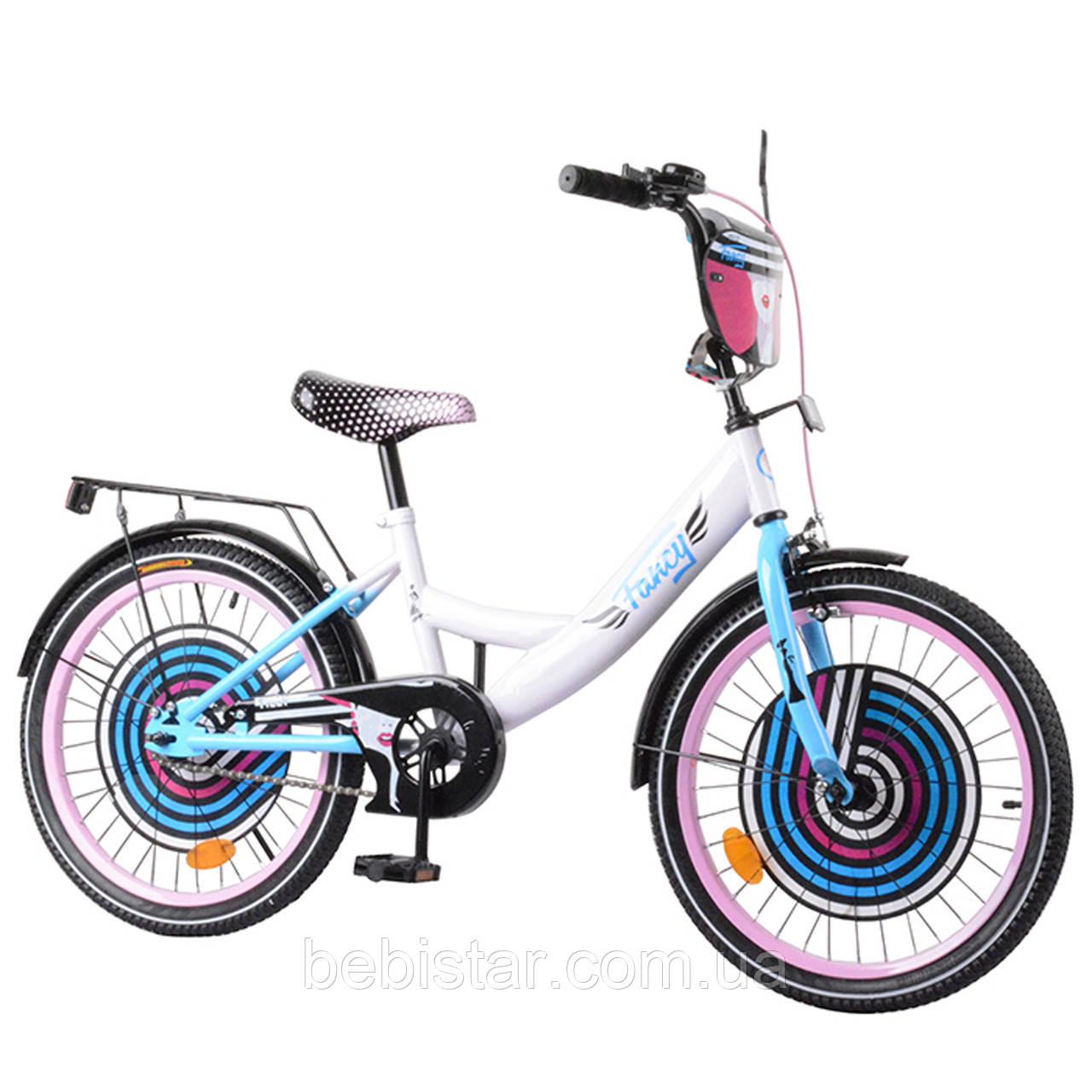"""Детский двухколесный велосипед белый с розовыми ободами Fancy 20"""" звоночек, тормоз,багажник для деток 6-9 лет"""