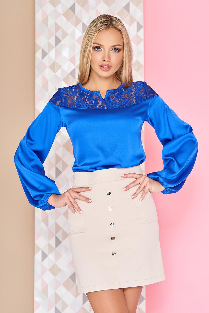 """Легкая шелковая блуза с длинными рукавами и гипюровой отделкой """"А-96"""" электрик"""