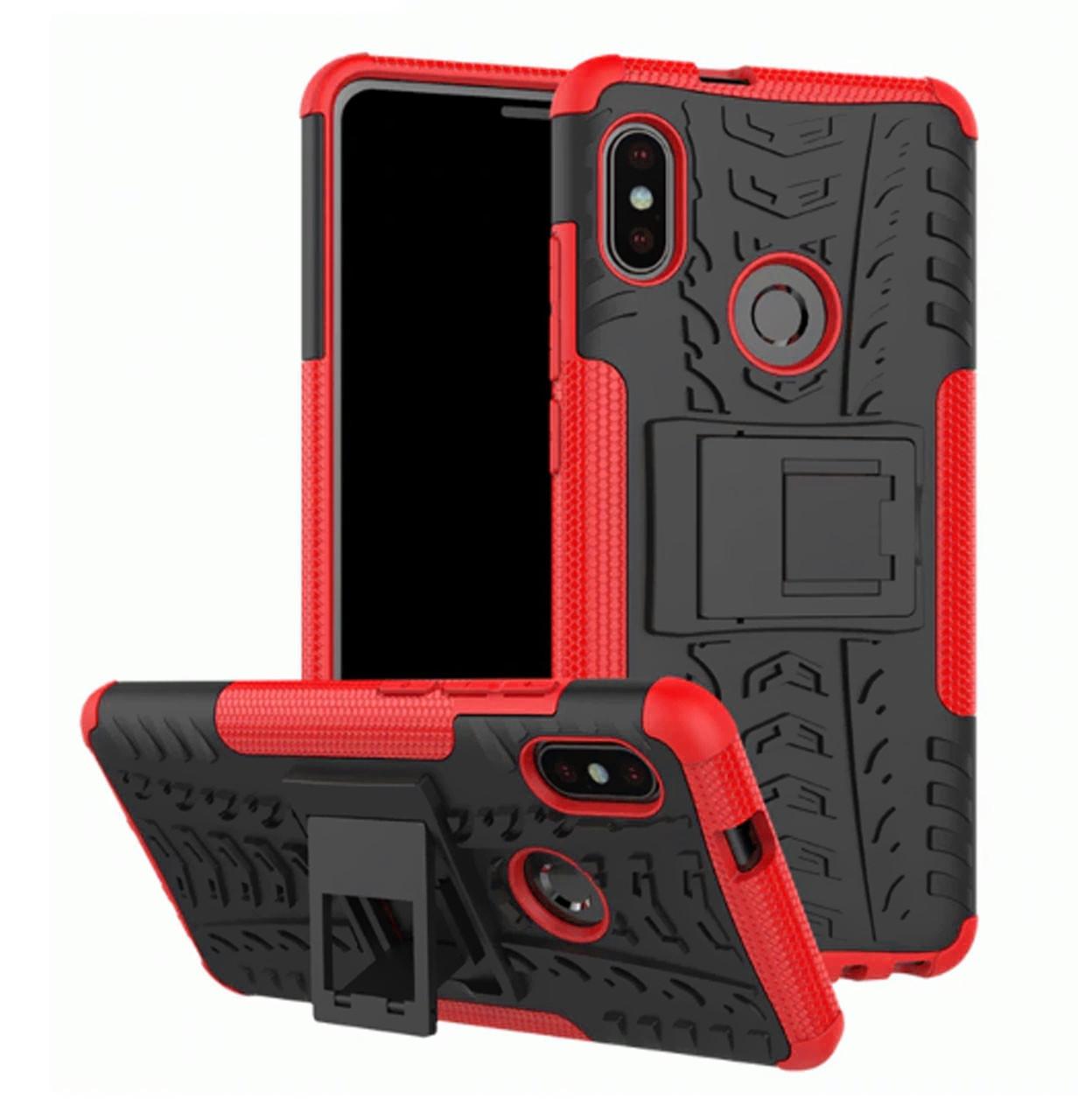 Противоударный двухслойный чехол Shield для Xiaomi Redmi Note 6 Pro Red