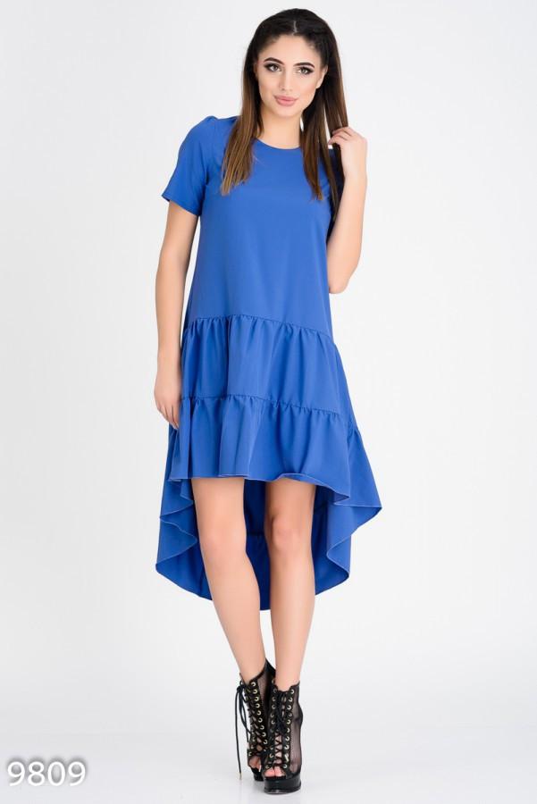 Синее летнее платье с короткими рукавами и присобранной асимметричной юбкой S