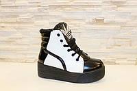 Ботинки зимние женские белые с черным С310