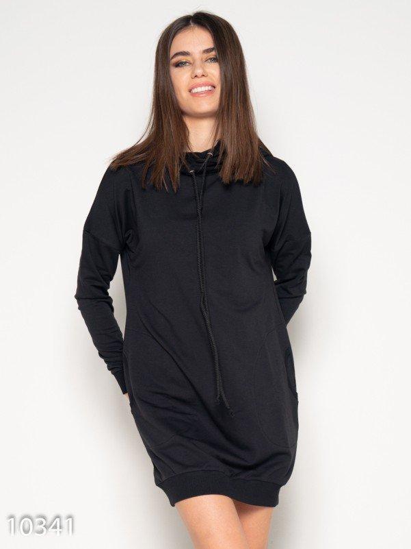 Черное спортивное платье с капюшоном и карманами M